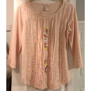 Sundance catalog pale pink top beading bust